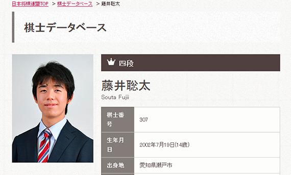 (画像は日本将棋連盟・棋士データベースのサイトよりキャプチャ)